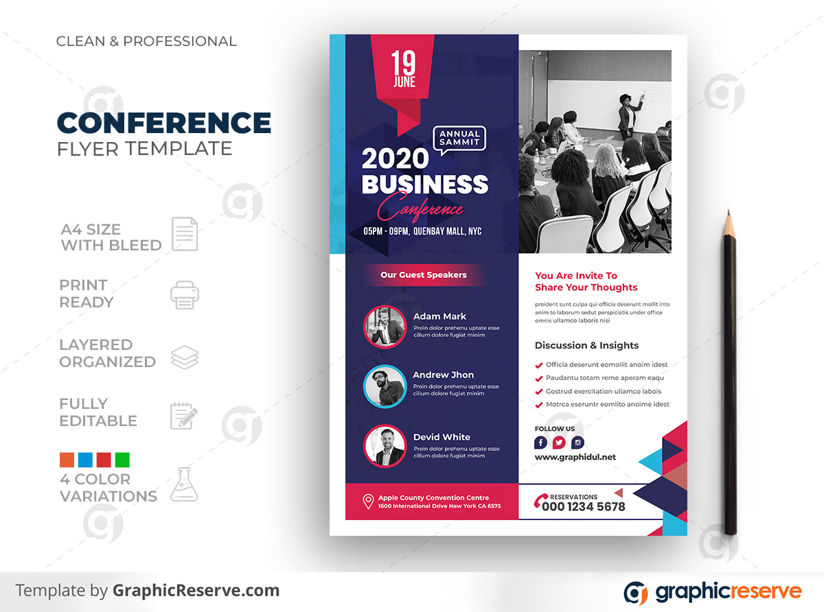 Corporate Business Conference Summit Meeting Event Seminar Flyer Template Preview