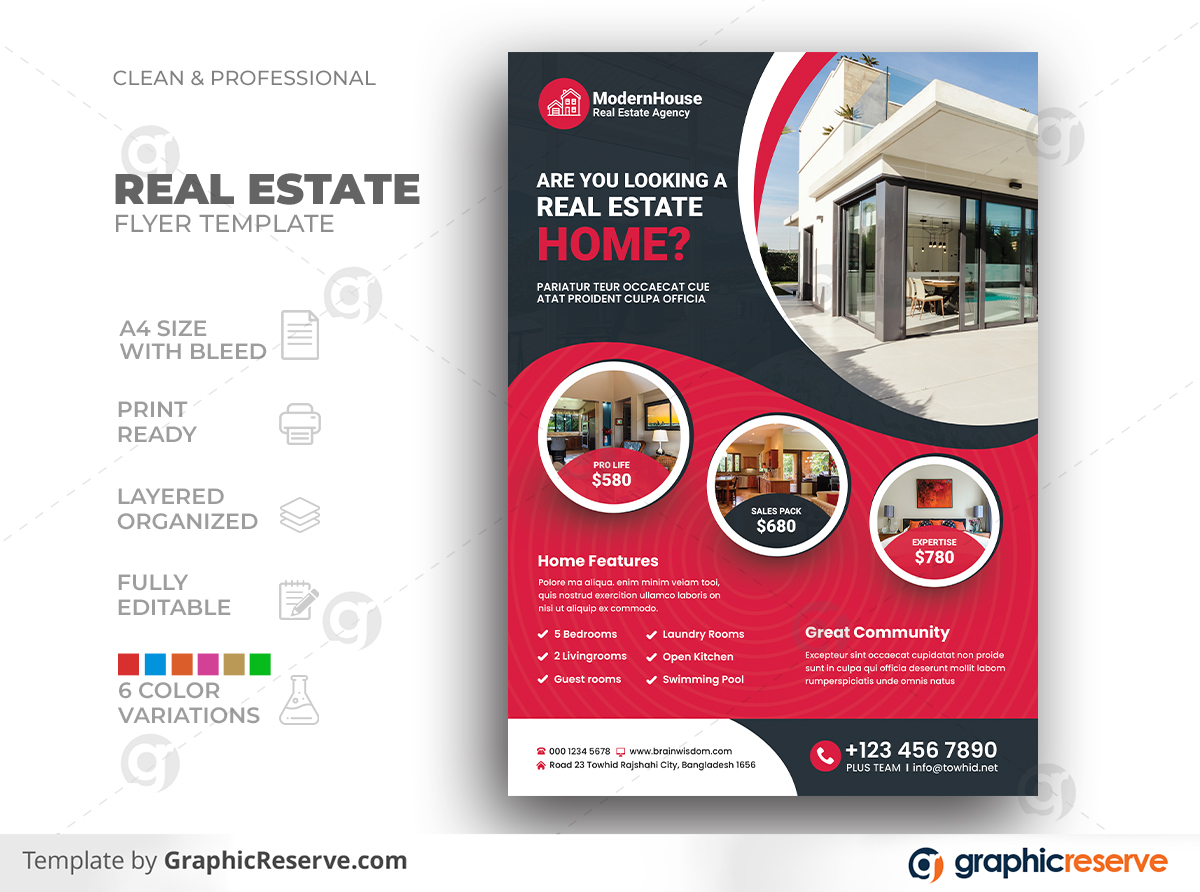 Elegant Modern Classy Real Estate Property Interior Design House Flyer Template Preview