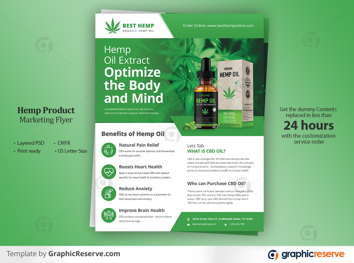 Hemp Product Flyer Template design