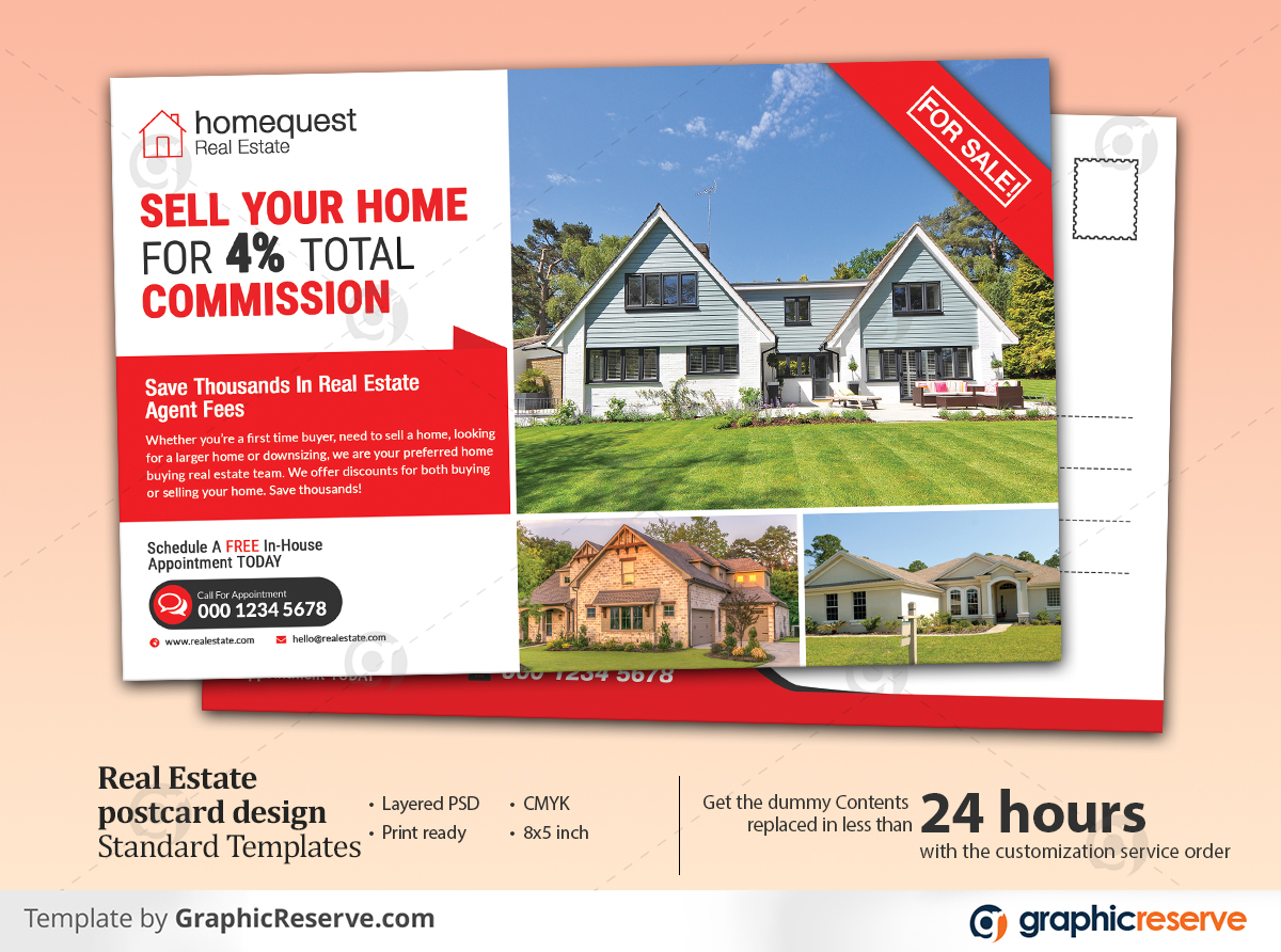Real estate postcard templates design