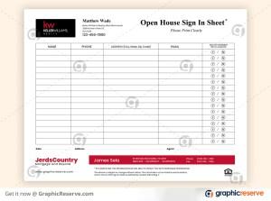 Keller Williams Open House Sign In Sheet Design Template