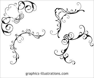 Lite edition Corner designs, swirls ornaments - set of 4 Photoshop brushes (Photoshop 7, CS, CS2, CS3, CS4 and CS5 compatible)