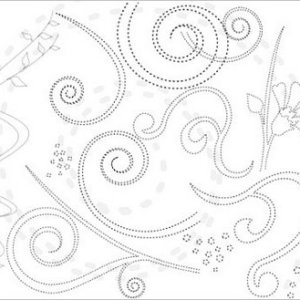 Free download Photoshop floral and swirls brushes, dashed outline