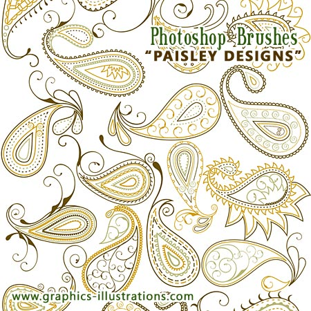 Paisley Designs - Photoshop Brushes set, 75+25