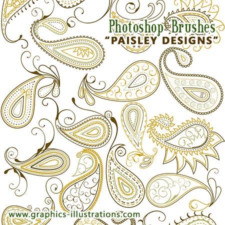 Paisley Designs - Photoshop Brushes set, 75+25