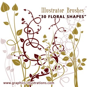 Illustrator Brushes – Floral Shapes – Vector Set