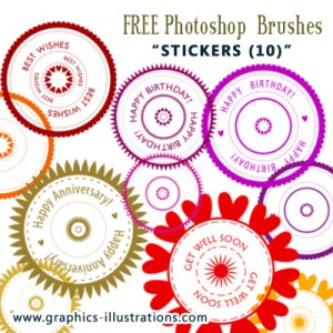 And another Free Photoshop Brushes Set: Stickers (10)
