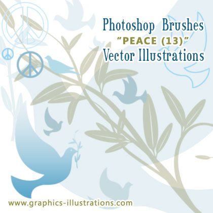 Peace Photoshop Brushes and Vectors Set - in one package