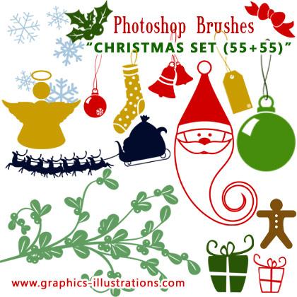 Christmas Photoshop brushes set