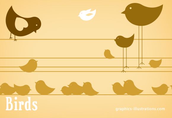 Fresh and new like spring Photoshop Brushes Set: Birds