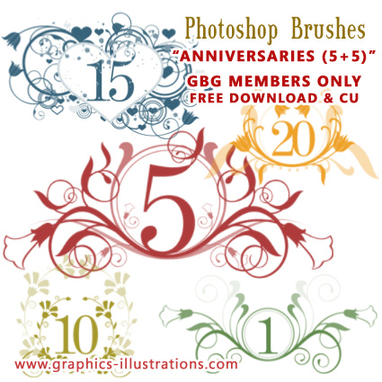 Anniversaries Photoshop brushes set - Free, GBG members edition