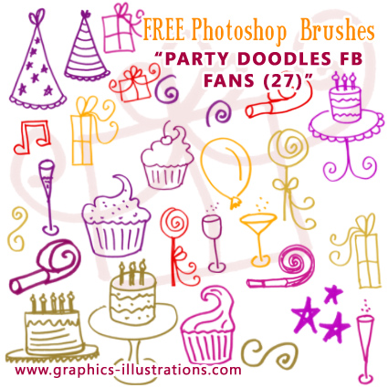 Facebook fans Party Doodles Photoshop brushes set - FREE
