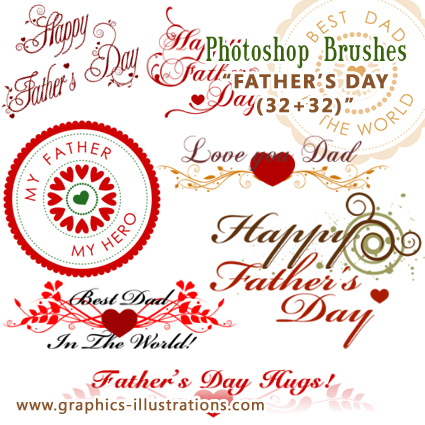 Fathers Day, Photoshop Brushes set: LITE free edition