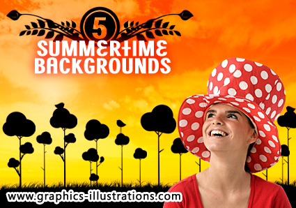 5 Summertime Sunset Backgrounds, HighRes