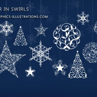 Photoshop brushes: Winter in Swirls (Snowflakes, Trees, Stars and Balls made of swirls)