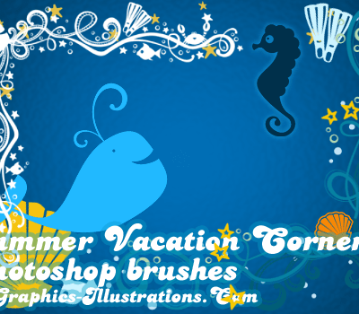 Summer Vacation Corners, Digital Stamps - Photoshop Brushes