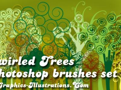Swirled Trees Digital Stamps