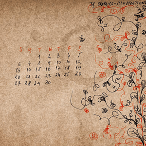 June 2010 Desktop Wallpaper Calendar + New Free Photoshop Brush Set (Happy Doodles)