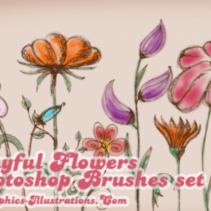 Playful Flowers Photoshop Brushes Set