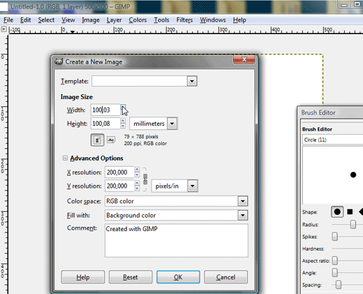 Open a new file in GIMP