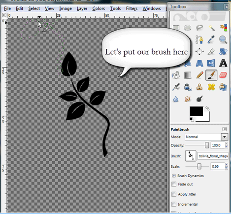 Placing a Photoshop brush in GIMP