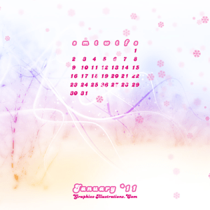 Free download: January 2011 Desktop Calendar Wallpaper
