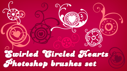 Swirled Circled Hearts Photoshop brushes
