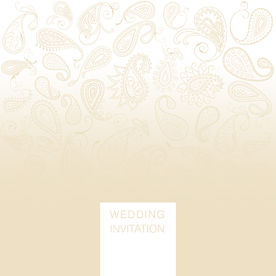 Simple and Elegant Wedding Invitation, Paisley Design