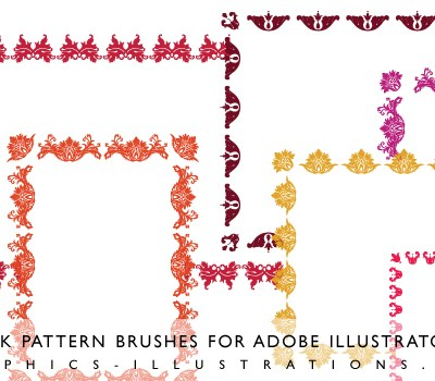 Damask Pattern brushes for Adobe Illustrator CS3