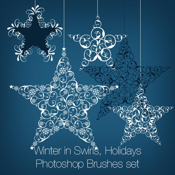 Winter in Swirls, Holidays Photoshop Brushes set