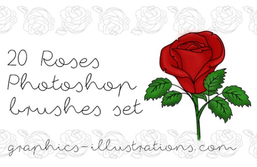 Roses Photoshop brushes set (20)