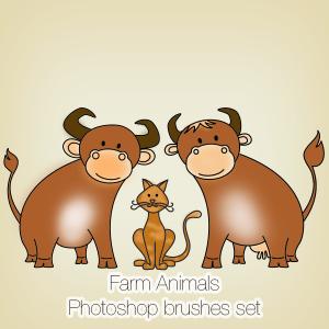 Farm Animals Photoshop Brushes