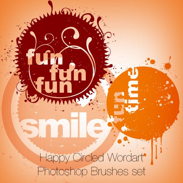 Happy Circled Wordart Photoshop Brushes