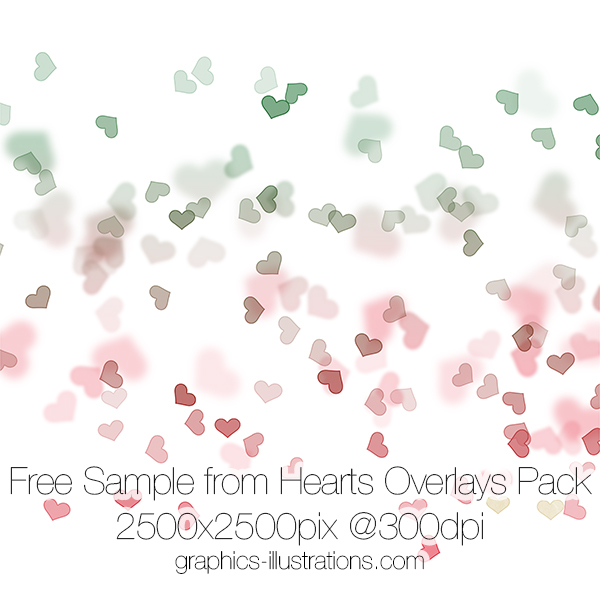 Free Sample from Hearts Overlays, Transparent PNG files with red, pink and colorful hearts available as 55 high-res transparent PNG files, Commercial Use OK