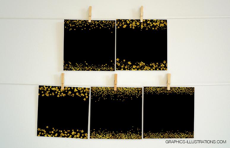Gold Stars Confetti Borders