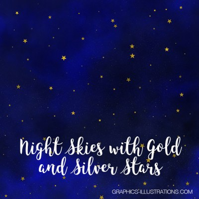 Night Skies with Gold and Silver Stars