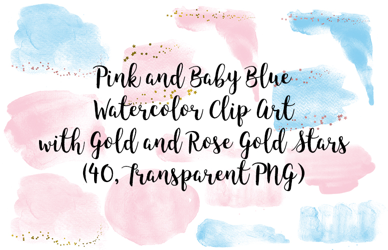 Pink and Baby Blue Watercolor Clipart with Gold and Rose Gold Stars, Transparent PNG