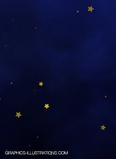Gold and Silver Stars In A Night Sky
