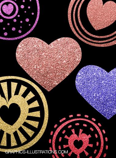 Glitter Hearts Clip Art
