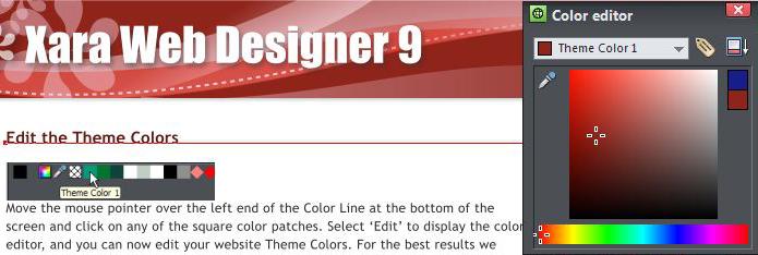 Xara Web Designer Color Picker