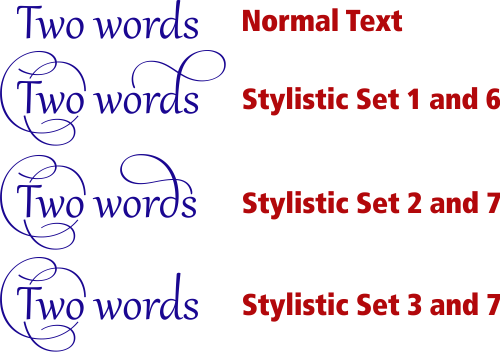 OpenType Swash Characters in CorelDRAW