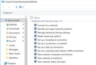 God Mode Provides Access to Features in Windows 7, 8 and 10
