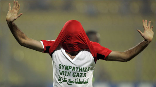 Egypt's Mohamed Aboutreika's goal celebration earned him a yellow card.