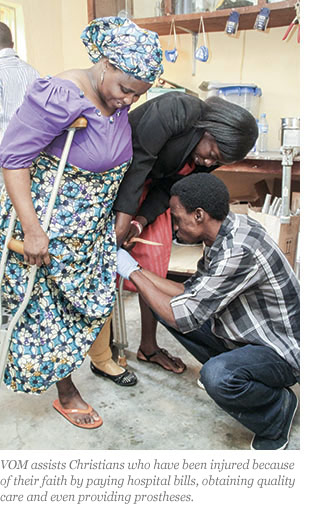 VOM assists Christians who have been injured because of their faith by paying hospital bills, obtaining quality care and even providing prostheses.