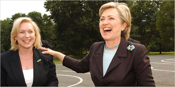 Hillary campaigns for Gillibrand in August 2006.