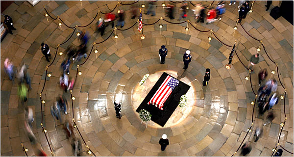 President Ford's casket in the Capitol Rotunda - photo by Todd Heisler, NY Times