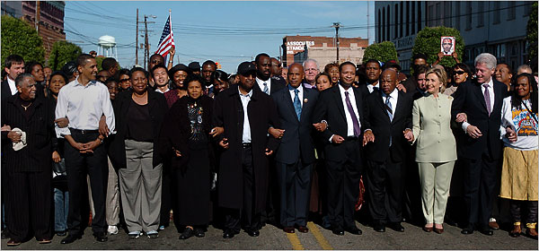Barack in Selma with Hillary and Bill Clinton; NY Times.