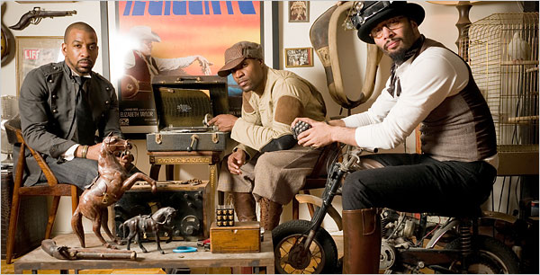 Robert Wright for The New York Times From left, Deacon Boondini, the Great Gatsby and Giovanni James of the James Gang share a vision with the designer Alexander McQueen.