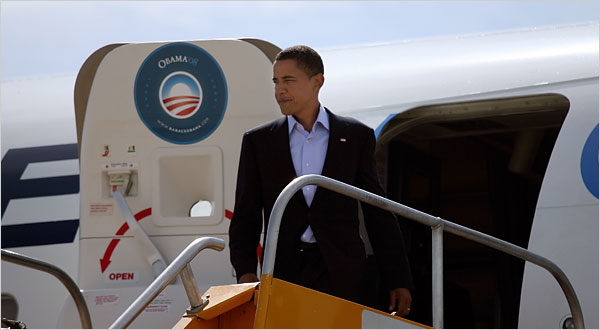 Senator Barack Obama arriving at the Denver International Airport on Wednesday.