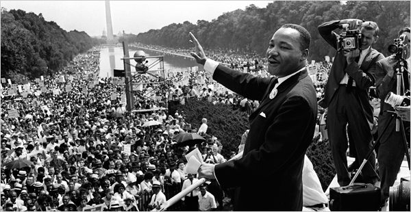 Martin Luther King Jr. on the Mall in Washington D.C. on August 28, 1963. (NYT)